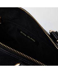River Island Black Zip Front Bowler Tote Bag Black Zip Front Bowler Tote Bag