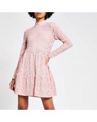 River Island Pink Lace High Neck Mini Smock Dress