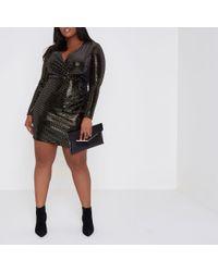 River Island Metallic Plus Gold Mirror Dot Sequin Bodycon Dress