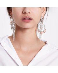 River Island Metallic Peach Silver Tone Jewel Circle Drop Earrings