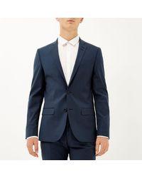 River Island Blue Wool Blend Slim Suit Jacket for men