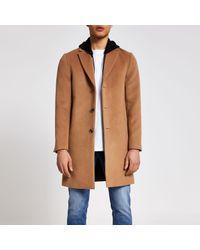 River Island Natural Camel Hooded Overcoat for men
