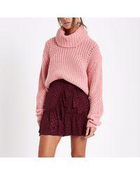 River Island Red Dark Spot Jacquard Frill Wrap Mini Skirt