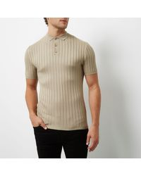 River Island Natural Stone Ribbed Muscle Fit Polo Shirt for men