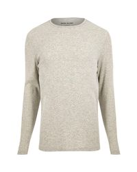 River Island Natural Grey Ribbed Slim Fit Long Sleeve T-shirt for men