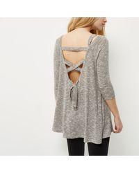 River Island Gray Grey Cold Shoulder Hanky Hem Knit Top