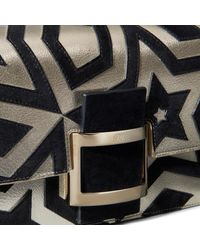 Roger Vivier - Black Viv' Micro Kaleidoscope Bag In Leather And Suede - Lyst