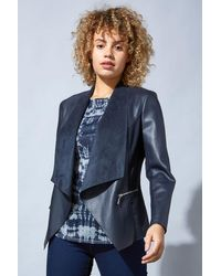 Roman Originals Blue Faux Leather Suedette Waterfall Jacket