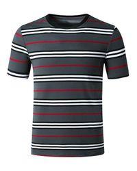 Rosegal Gray Striped Print Short Sleeves T Shirt for men