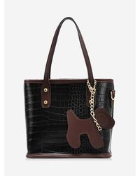 Rosegal Black Dog Detail Animal Pattern Pu Leather Tote Bag
