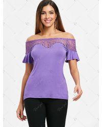 Rosegal Purple Off The Shoulder T-shirt