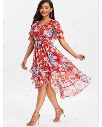 Rosegal Red Ruffle High Waisted Chiffon Dress
