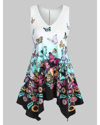Rosegal Blue Plus Size Handkerchief Butterfly Print Tank Top