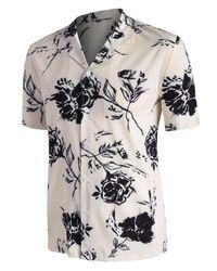 Rosegal White Rose Printed Short Sleeve Shirt for men