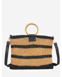 Rosegal Black Striped Woven Circle Handle Crossbody Bag