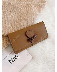 Rosegal Brown Tri Fold Heart Design Horn Button Clutch Wallet