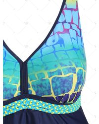 Rosegal Blue Braided Straps Printed Panel Plus Size Tankini Swimsuit
