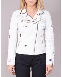 Desigual White Chotoum Leather Jacket