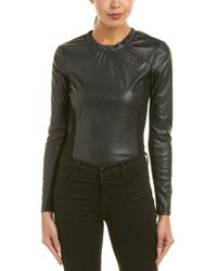 BCBGMAXAZRIA Black Mixed Media Bodysuit
