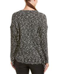 Michael Stars Black Fringe-sleeve Wool-blend Pullover