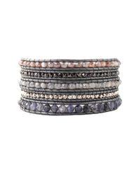 Chan Luu Metallic Silver Gemstone Wrap Bracelet