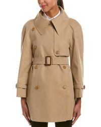 Burberry Brown Exaggerated Collar Cotton Trench Coat