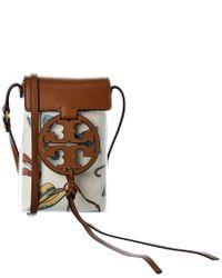 Tory Burch Brown Clear Print Phone Crossbody Bag