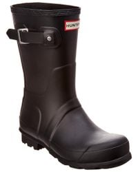Hunter Black Original Short Waterproof Rain Boot for men