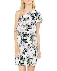Vince Camuto Black Glacier Floral Ruffled One-shoulder Dress