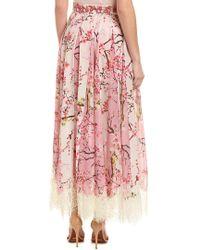 Hemant & Nandita Pink Rococo Sand Lace Silk Maxi Skirt