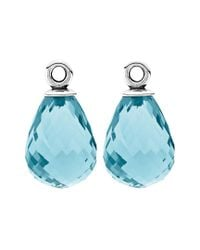 Pandora - Blue Fascinating Beauty Silver Murano Glass Earring Charms - Lyst