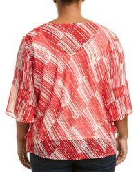 NIC+ZOE Red Zambra Top (multi) Clothing
