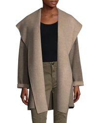 Vince - Multicolor Hooded Wool-blend Coat - Lyst