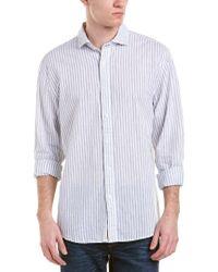 NIFTY GENIUS White Earnest Linen-blend Spread Collar Woven Shirt for men