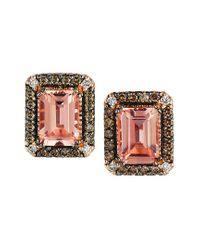 Le Vian Multicolor ? Chocolatier? 14k Strawberry Gold? 1.83 Ct. Tw. Diamond & Morganite Earrings
