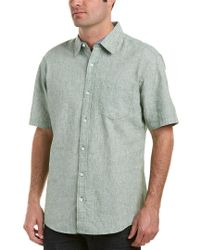 Vintage 1946 Green Linen-blend Woven Shirt for men