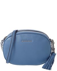 MICHAEL Michael Kors Blue Ginny Leather Messenger