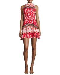 Parker Red Aurora Floral-print Silk Dress