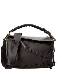 Loewe Black Puzzle Laced Leather Satchel