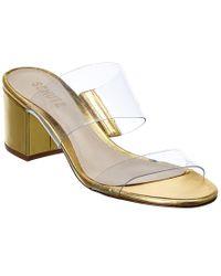 Schutz Metallic Victorie Leather Sandal