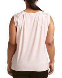 Tahari Pink Plus Turn Back Cap Sleeve Top