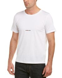 Saint Laurent White Logo Print T-shirt for men