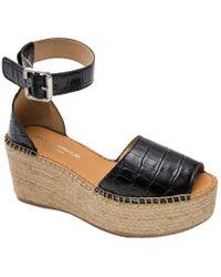 Andre Assous Black Luz Platform Wedge Espadrille Sandal