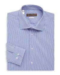 Hickey Freeman Blue Two-tone Stripe Dress Shirt for men