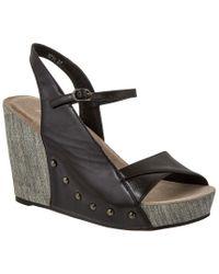 Antelope Black 714 Leather Wedge Sandal