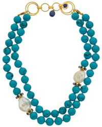 Bounkit Blue 14k Plated Layered Turquoise Necklace