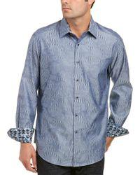 Robert Graham Blue Classic Fit Abbey Oak Woven Shirt for men