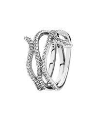 Pandora - Metallic Silver Cz Snake Ring - Lyst