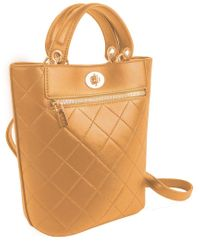 Ellen Tracy Natural Quilted Top Handle Shopper Tote