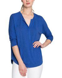 NIC+ZOE Blue Linen-blend Top